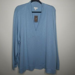 J. Jill Plus Size 3X NWT Blue Marled Long Sleeve T